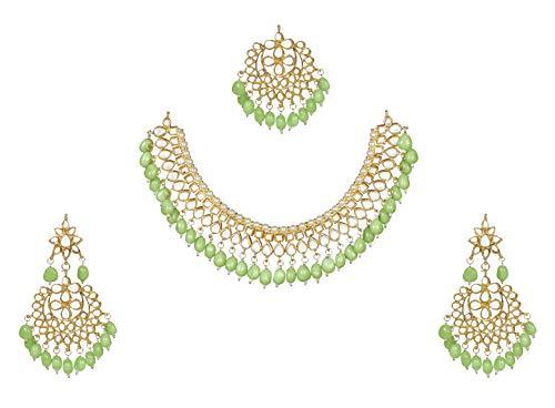 Finekraft Meena Kundan-Perlen-Designer-Schmuckset, vergoldet, Brautschmuck, Hochzeit, Damen, Halskette, Ohrringe, Tikka-Schmuck-Set