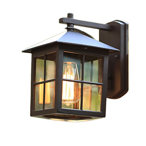 KMYX Simple Carré Extérieur Mur Lanterne Simple Tête En Aluminium En Métal Noir Peinture Mur Lampe Lampe Décoratif Corridor Allée Boutique Mur Monté Lumières De Sécurité Étanche IP44