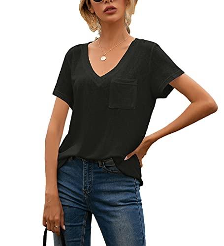 Blusa Mujer Verano Bolsillos con Cuello En V Decoración Mujer Camisa Casual Clásico Temperamento Transpirable Elasticidad Único Agradable A La Piel Simplicidad Mujer Tops D-Black XL