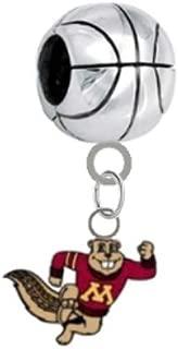 Minnesota Gophers Mascot Basketball 3D Universal European Bracelet Charm