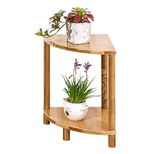 GZLL 2-Tier Beistelltisch, Holztisch, Pflanze Rack-Regal, Holzregal, außer Raum, Ecke Blumentopf Raum, Bambus, Naturbraun, 30x30x40cm (11.8x11.8x15.7in)