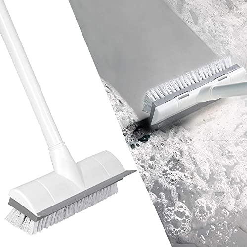WWYCDD Cepillo para Fregar Pisos con Mango Largo, 2 en 1 para raspar y cepillar Cepillo de cerdas rígidas, Cepillo de Limpieza para terraza, baño, bañera, Azulejos, lechada, Cocina