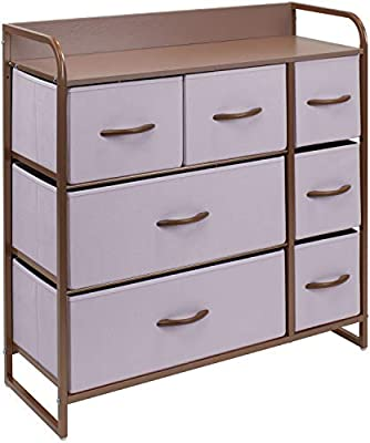Sorbus Dresser with 7 Drawers - Furniture Storage Chest for Kid's, Teens, Bedroom, Nursery, Playroom, Clothes, Toys - Steel Frame, Wood Top, Fabric Bins (7-Drawer, Pink) from Sorbus