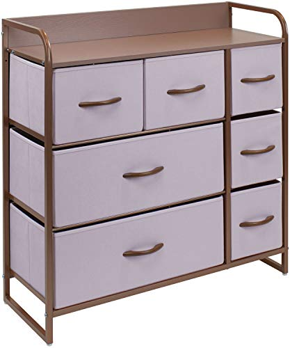 Sorbus Dresser with 7 Drawers - Furniture Storage Chest for Kid's, Teens, Bedroom, Nursery, Playroom, Clothes, Toys - Steel Frame, Wood Top, Fabric Bins (7-Drawer, Pink)