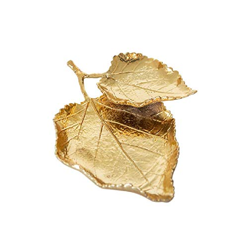 HHTX Double Gilded Elm Leaves Jewelry Dish Trinket Tray Decorative Exquisite Ceramic Jewelry Display Plate Elegant Storage Dish for Rings Keys Earrings Coin, Gift for Woman Girl