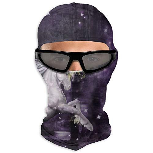 N/Een Full Face Masker Prachtige Bos En De Eenhoorn In Nacht Hood Zonnebrandcrème Masker Dubbele Laag Koud Voor Mannen En Vrouwen