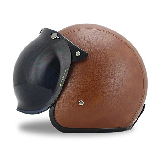 Woljay 3/4 Open Face helmet, Motorcycle Helmet Flat Leather with Bubble Shield Brown (S)