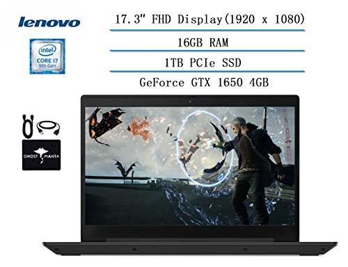 "Lenovo IdeaPad L340 17.3"" Full HD Gaming Laptop 2020 Newest, Intel core i7-9750H (up to 4.50 GHz, Beat i7-7500U), 16GB RAM, 1TB PCIe SSD, NVIDIA GeForce GTX 1650 4GB GDDR5, Win 10 w/HESVAP Accessories"