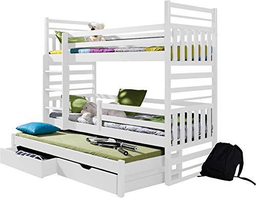 FurnitureByJDM - Triple stapelbed met matrassen en opberglades - HIPOLT - Massief, natuurlijk grenen hout - (Wit)