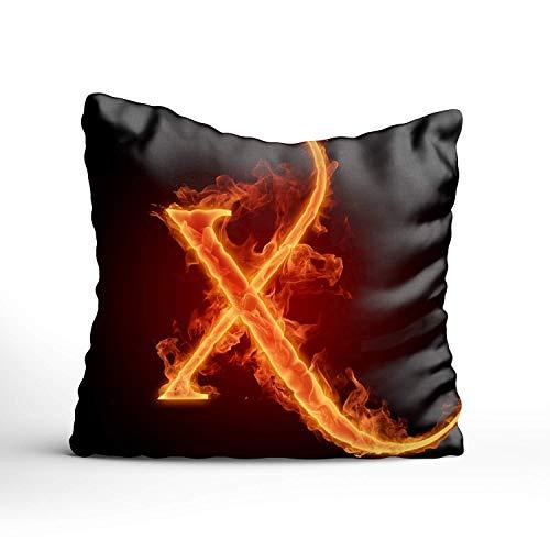 N\A Letra X Lit. Fundas de Almohada de Tiro de Llama de Fuego Fundas de cojín de Lino de algodón
