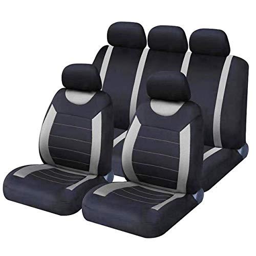 Sakura SS5398 - Set completo di coprisedili e poggiatesta per auto, taglia unica, con bordo elastico, compatibile con airbag laterale, lavabile, facile da montare
