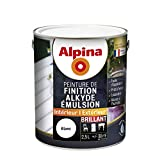 ALPINA Peinture de finition - Alkyde émulsion - Brillant Blanc 2,5L 30m²