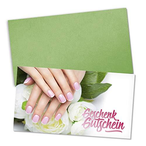 25 Gutscheinkarten + 25 Umschläge. Geschenkgutscheine für Nagelstudio Fingernagelstudio Nageldesign Nailart. Vorderseite hochglänzend. KS1275