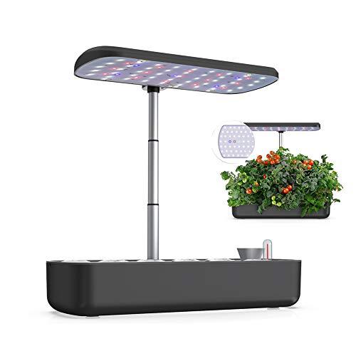 ZDYLM-Y Sistema de Cultivo hidropónico, Smart Garden con luz de Crecimiento LED y Temporizador automático, Maceta Inteligente con Altura Ajustable, para Varias Plantas,Negro