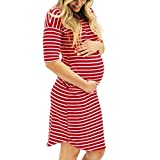 Women Dress,Sexy Fashion Pregnants O-Neck Stripe Short Sleeve Dress Nursing Maternity Loose Casual Skirt