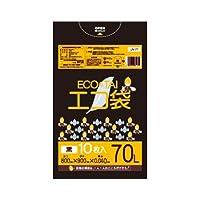 サンキョウプラテック エコ袋 70L 0.040厚 黒 10枚入×40冊 LN-72