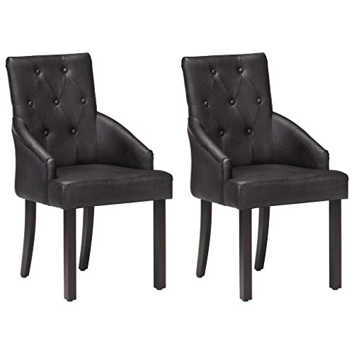 vidaXL 2X Sillas de Comedor Asiento Mobiliario Muebles de Salón Cocina Escritorio Acolchado Suave Cómodo con Respaldo Cuero Auténtico de Cabra Negro
