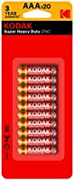 Kodak 30937765 Super Heavy Duty AAA 20 Pack Zinc Batteries
