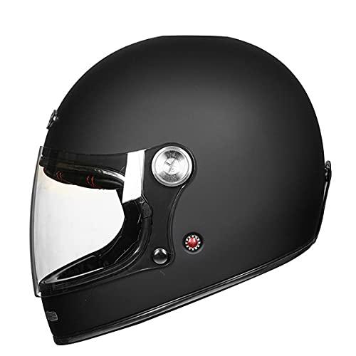 Casco de motocross de fibra de vidrio de cara completa motocicleta profesional retro cascos ECE certificación negro mate M