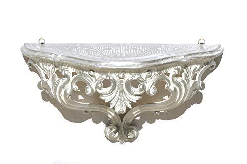 Mensola Consolle Bianco e Argento Finto Vintage per Ingresso in Stile Barocco Shabby Chic