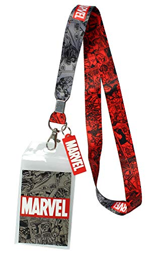 """Marvel Lanyard ID Badge Holder, 2"""" Rubber Charm Pendant with Raised Script and 2 Sided Vintage Comic Strip Pattern"""