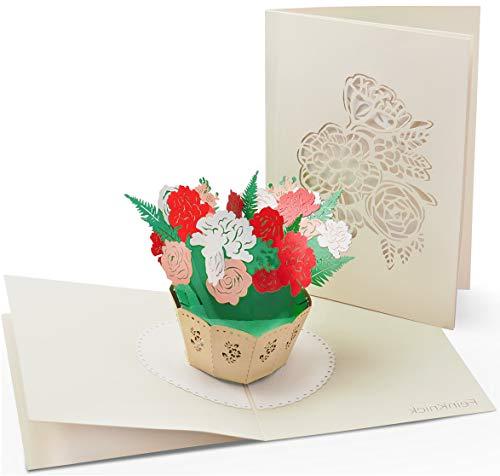 Grußkarte mit extra Seite für Text als Glückwunschkarte & Dankeskarte - 3D Pop-Up Karte mit Blumen