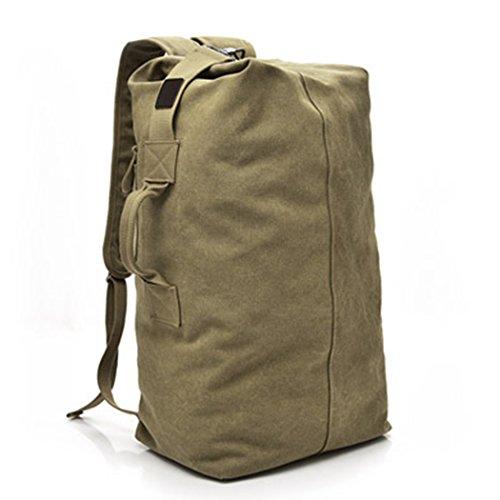 Mochila de lona de moda para hombre, bolsa de hombro, bolsa de viaje, bolsa de mano para equipaje, caqui, Large