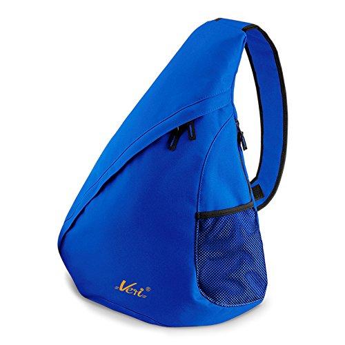 Moderner Messenger Dreieck-Rucksack, Umhängetasche, Body Bag, Crossover Sling Bag Farbe: Royal-Blau - Mit Veri ® Logo