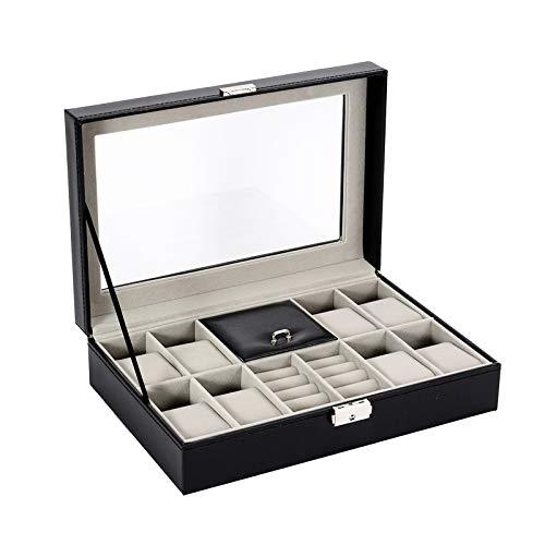 GYMEIJYG Caja De Almacenamiento De Reloj PU Caja De Almacenamiento De Exhibición De Joyería Cierre De Metal Caja De Reloj con Tapa De Cristal para Guardar Relojes