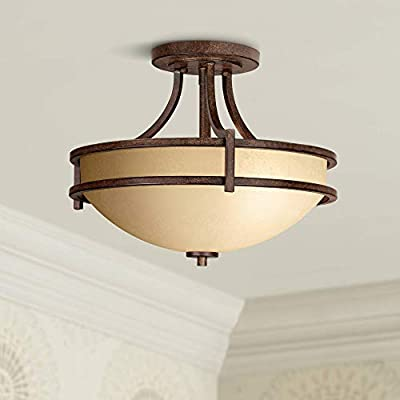 "Oak Valley Collection 18"" Wide Scavo Glass Ceiling Light - Franklin Iron Works"