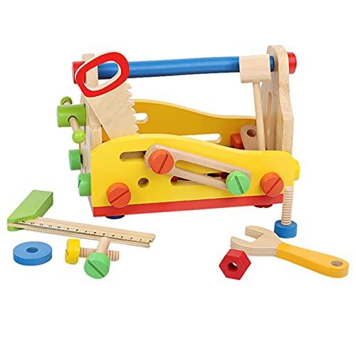caja de herramientas de madera, juguetes de madera, caja de herramientas para niños, juego de constructores de madera, juegos de rol, juguetes de construcción para niños de 3 años en adelante