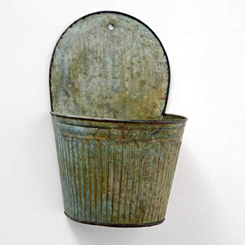 Boltze 1002688 Wand-Pflanztopf aus Metall Vintage Zink Blech Grün (Höhe: 34cm)