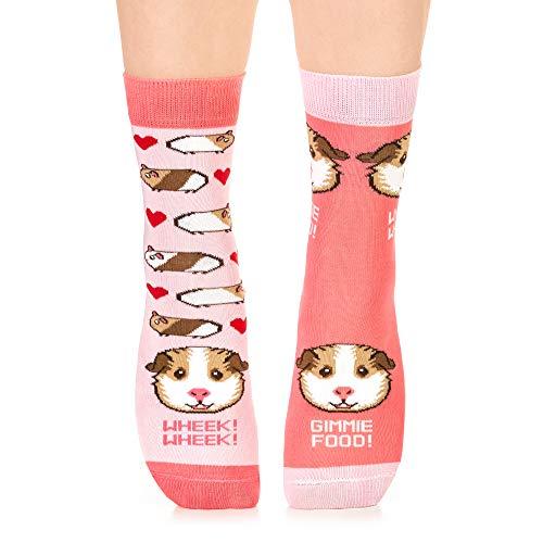 Petsy Lustige Socken für Damen und Herren - Baumwolle Bunt Motivsocken mit Spruch - Perfekt Verrückte Geschenke Mehrfarbig,Cheeky Piggie,35-38
