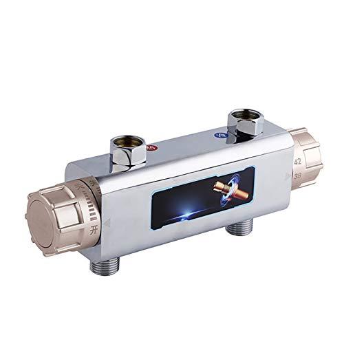 JenLn Grifo mezclador termostático, cromado, antiquemaduras, para manguera de ducha de 1,27 cm, válvula de control de temperatura (color: oro, tamaño: DN15)