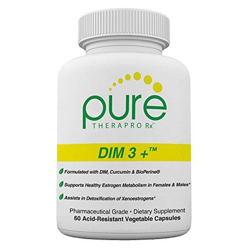 DIM 3 + (2 Month Supply) 60 Vegan Caps | DIM-200mg, Curcumin-250mg & BioPerine-2.5mg | Supports Healthy Estrogen Metabolism in Men & Women | Natural Aromatase Inhibitor | Pharmaceutical Grade
