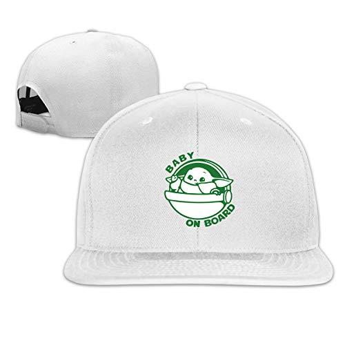 Aosepangpi Baby Y-Oda - Gorra de béisbol ajustable para hombre y mujer, visera plana personalizada, diseño de impresión gráfica, color negro Blanco blanco Taille unique