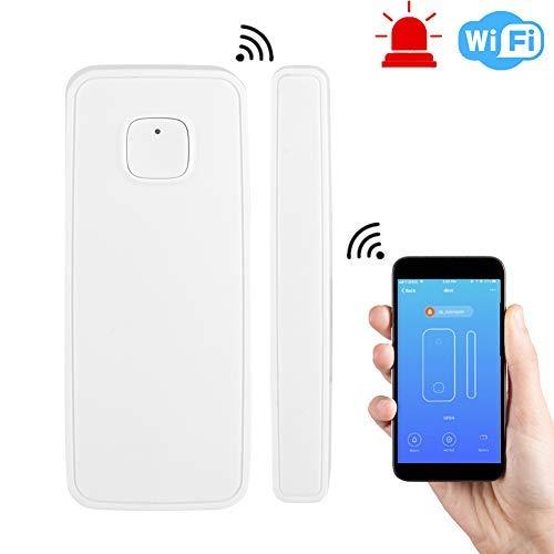 WIFI 2,4 G slimme raamsensor/deursensor, beveiligingstechnologie draadloze alarmsysteem sensor ondersteunt APP-besturing compatibel met Alexa en Google Home voor inbraakbeveiliging