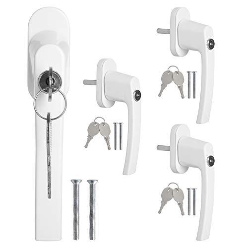 FIXKIT 4 Stück abschließbarer Fenstergriff, Kindersicherung abschließbar, gekippt und geschlossen mit 4 gleichen Schlüsselpaaren (weiß)