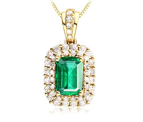 Aimsie Gold Chain, Elegant Women's Necklace Gold 18 Carat (750) Yellow Gold Necklace Women's Gold Chain 18 Green Chain with Pendant 1.8ct