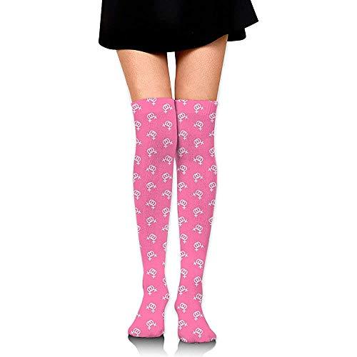 Uridy Weiße Lesben Symbol Hohe Kniestrümpfe Mode Socken Lustige Röhrenbein Strümpfe