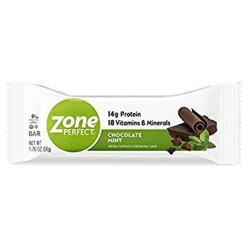 Zone Perfect Protein Bars Nutrition Bars With Vitamins & Minerals Chocolate Mint 1.76 Oz  Pack of 20