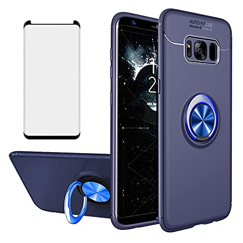 Asuwish Compatible with Samsung Galaxy S8 Plus Case and Tempered Glass Screen Protector Cover Cell Ring Holder Stand Kickstand Phone Cases for Glaxay S8plus S 8 8plus 8S Edge S8+ SM-G955U Edge Blue