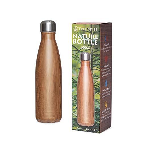 Tree Tribe Nature Bottle - Stainless Steel Insulated Water Bottle - Woodgrain 500 ml (17oz)