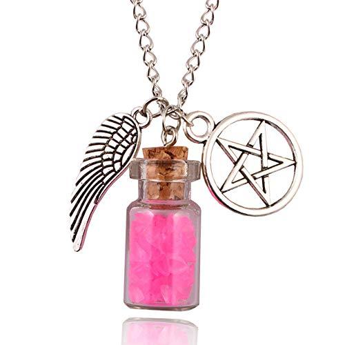 Lunapolaris - Schmuck Halskette mit Fläschchen - Silber - Engelsflügel ┃ Zauberhaft ┃ Traum- Anhänger ┃ Geschenk ┃ Fläschen – Princess-Pink