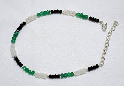World Wide Gems Gemstone Beaded Bracelet,Onyx Bracelet,Rainbow Moonstone Bracelet, Silver Bracelet for Women Size-3.5-4mm