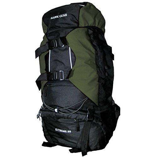 [HAWK GEAR(ホークギア)] バックパック 80L 大容量 防水 アウトドア 防災 災害 登山 旅行 (モスグリーン)