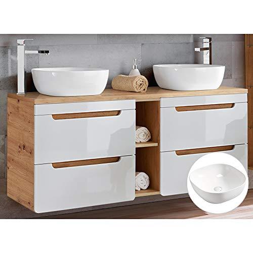 Lomadox Badmöbel Waschtisch Set in weiß Hochglanz & Wotaneiche, 2 Keramik-Aufsatzwaschbecken, 140cm Waschtischunterschrank 4 Softclose-Schubkästen