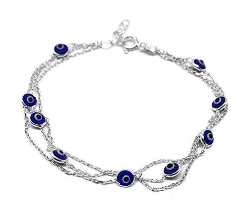 MYSTIC JEWELS by Dalia - 19cm Pulsera de Plata Mal de Ojo en Cadena Triple con ojitos pequeñitos - para Buena Suerte (Azul Marino)