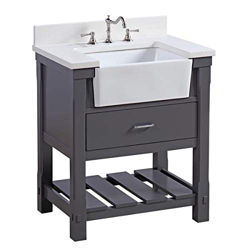 Charlotte 30-inch Bathroom Vanity (Quartz/Charcoal Gray): Includes Charcoal Gray Cabinet with Stunning Quartz Countertop and White Ceramic Farmhouse Apron Sink