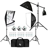 LimoStudio Photo Video Studio 2400 Watt Softbox Continuous Light Kit with Overhead Head Light Boom Kit, AGG891